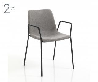 Sada 2 židlí Viktoria Gray Šedá & Stříbrná
