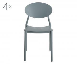Sada 4 stoličiek Oval Grey Sivá & Striebristá