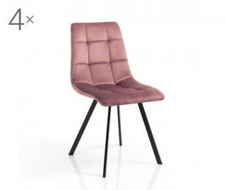 Sada 4 židlí Toffee Pink Ružová