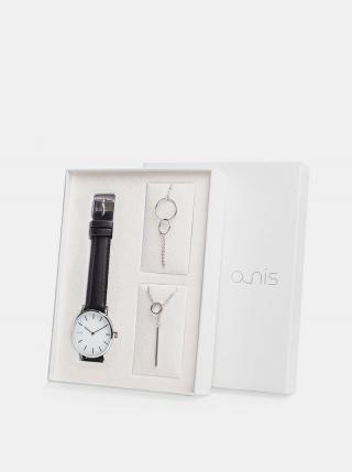 Sada dámskeho náramku, náhrdeľníku a hodiniek s čiernym koženým remienkom a-nis dámské čierna