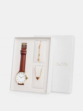 Sada dámskeho náramku, náhrdeľníku a hodiniek s hnedým koženým remienkom a-nis dámské hnedá