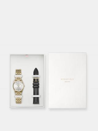 Sada dámskych hodiniek a náhradného remienku v čiernej a zlatej farbe Rosefield dámské zlatá