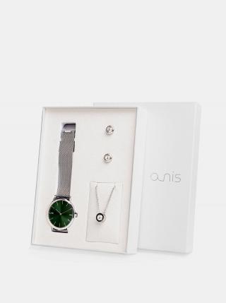 Sada dámskych hodiniek, náušnic a retiazky v striebornej farbe a-nis dámské strieborná