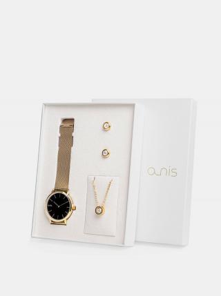 Sada dámskych hodiniek, náušnic a retiazky v zlatej farbe a-nis dámské zlatá