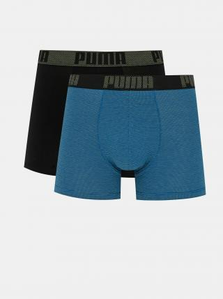 Sada dvoch boxeriek v modrej a čiernej farbe Puma pánské čierna S