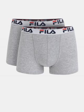 Sada dvoch šedých žíhaných boxeriek FILA pánské sivá M