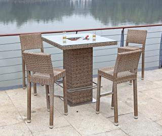 Sada stôl a 4 stoličky do exteriéru Alvito Hnedá