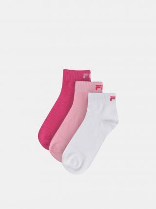 Sada troch párov dámskych kotníkových ponožiek v rúžovej a bielej farbe  FILA dámské ružová 35-38