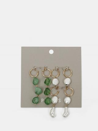 Sada troch párov náušnic v zelenej a bielej farbe Pieces Nirma dámské biela