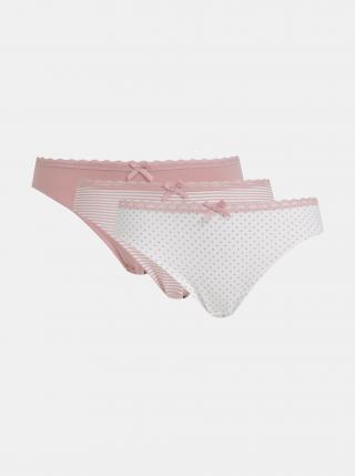 Sada troch vzorovaných nohavičiek v bielej a rúžovej farbe Dorina Mila dámské biela XXL