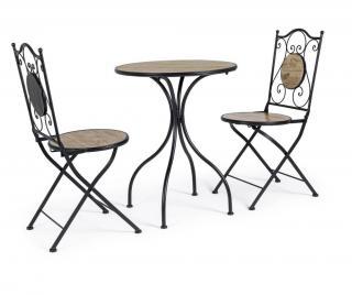 Sada záhradného stola s 2 skladacími stoličkami Kansas Čierna