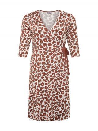 SAMOON Šaty  hnedá / biela dámské 52