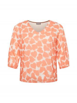 SAMOON Tričko  oranžová / biela dámské L