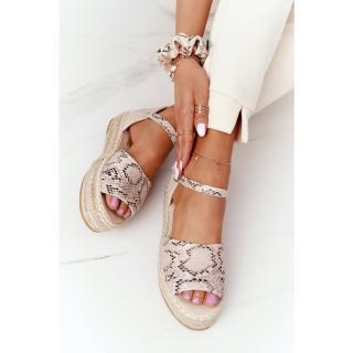 Sandals On A Braided Platform Beige Snake Pattern Megara dámské Other 39