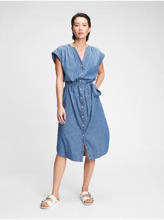 Šaty midi shirtdress Modrá dámské L