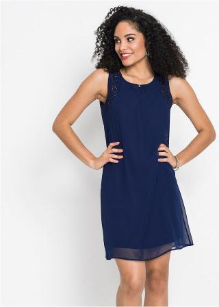 Šaty s aplikáciou dámské modrá 36,38,40,42,44,46,48,50,52,54