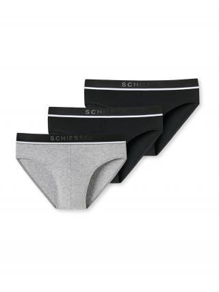 SCHIESSER Nohavičky  čierna / biela / sivá melírovaná pánské M