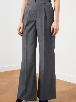 Šedé dámske vzorované široké nohavice Trendyol dámské sivá XL