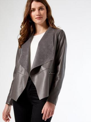 Šedé koženkové sako Dorothy Perkins dámské sivá XL