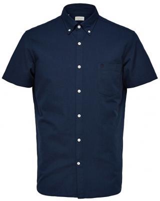 SELECTED HOMME Pánska košeľa Regcollet Shirt Ss W Noos Moonlit Ocean M