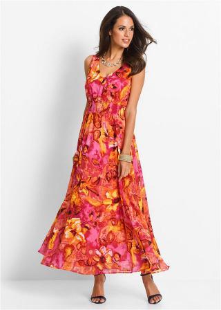 Šifónové šaty dámské ružová 36,38,40,42,44,46,48,50,52,54