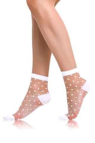 Silonkové ponožky s bodkami Bellinda TRENDY biele dámské biela 35-38
