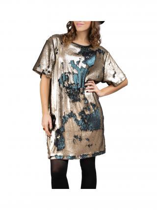 Simpo bronzovo-petrolejové flitrované šaty Flash dámské bronzová ONE SIZE