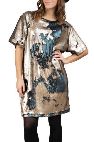 Simpo bronzovo-petrolejové flitrované šaty Flash - U dámské bronzová U