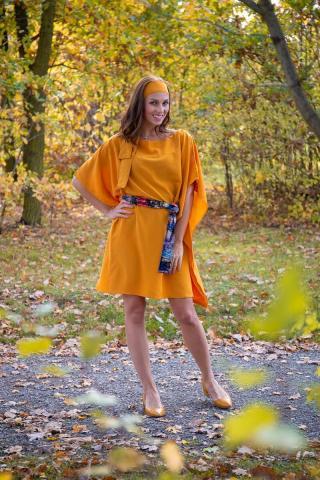 Simpo horčicové šaty Waterfall Yellow - U dámské horčicová U