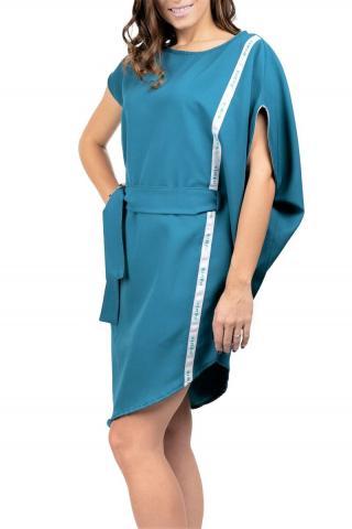 Simpo petrolejové asymetrické šaty Storm s opaskom - U dámské U