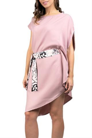 Simpo púdrové asymetrické šaty Storm s opaskom - U dámské púdrová U