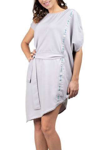 Simpo sivé asymetrické šaty Storm s opaskom - U dámské sivá U