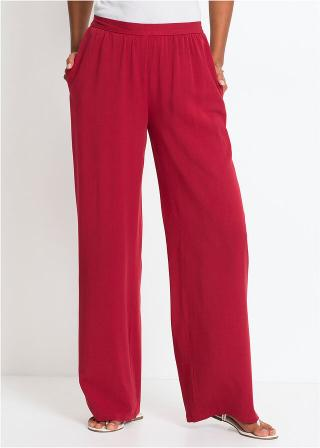 Široké nohavice dámské červená 34,36,38,40,42,44,46,48,50