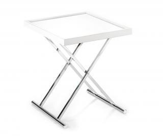 Skladací stolík s podnosom Baldi Biela