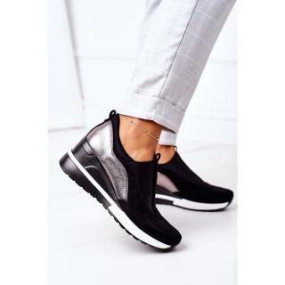Slip-On Wedge Sneakers Vinceza 10593 Black-Silver dámské Other 38