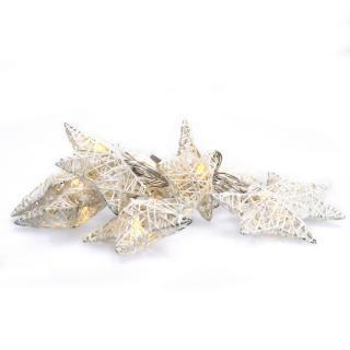 Solight LED reťaz vianočné hviezdy biele prepletané, 10LED reťaz, 1m, 2x AA, IP20, 1V203