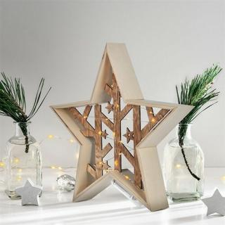 Solight LED vianočná hviezda, prírodné drevo 2 x AA, teplá biela