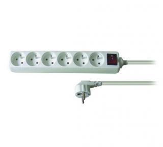 Solight Predlžovací kábel 6 zásuviek biela, 3 m