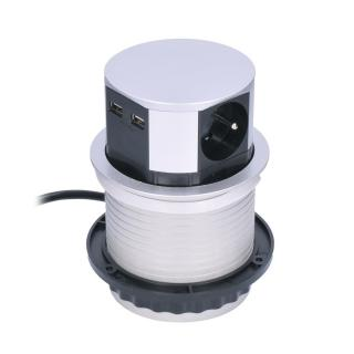 Solight Výsuvný predlžovací blok so 3 zásuvkami a 2x USB, strieborná