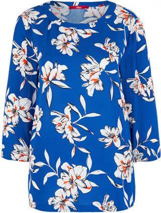 s.Oliver Dámska blúzka 14.002.19.2869 .56A2 Blue floral print 38 dámské