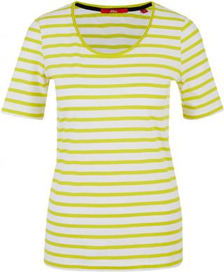 s.Oliver Dámske tričko 04.899.32.6022 .12G5 Yellow stripes 36