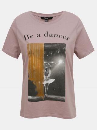 Staroružové tričko s potlačou VERO MODA dámské staroružová M