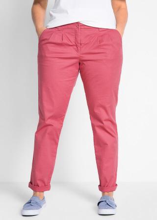 Strečové chino nohavice dámské ružová 34,36,38,40,42,44,46,48,50