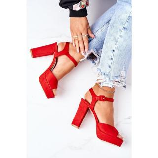 Suede High Heel Sandals Red Camilia dámské Other 38