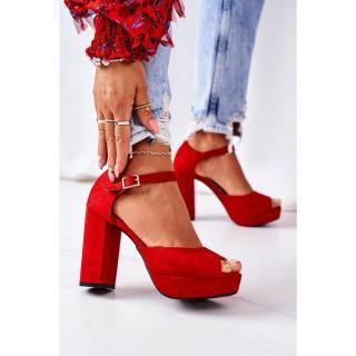 Suede High Heel Sandals Red Silvia dámské Other 38