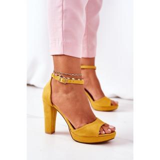 Suede High Heel Sandals Yellow Sarah dámské Other 38