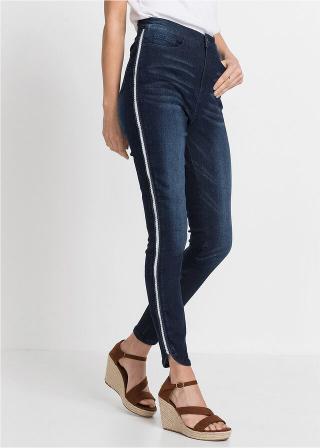 Super skinny džínsy s lesklým pásom, skrátené dámské modrá 32,34,36,38,42,44,46,48