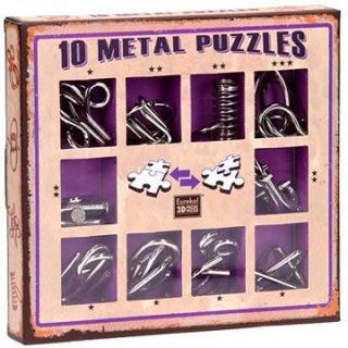 Súprava 10 hlavolamov kov fialová
