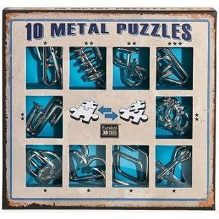 Súprava 10 hlavolamov kov modrá