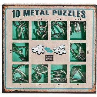 Súprava 10 hlavolamov kov zelená